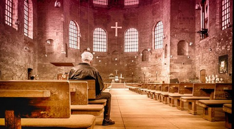 Man in European church